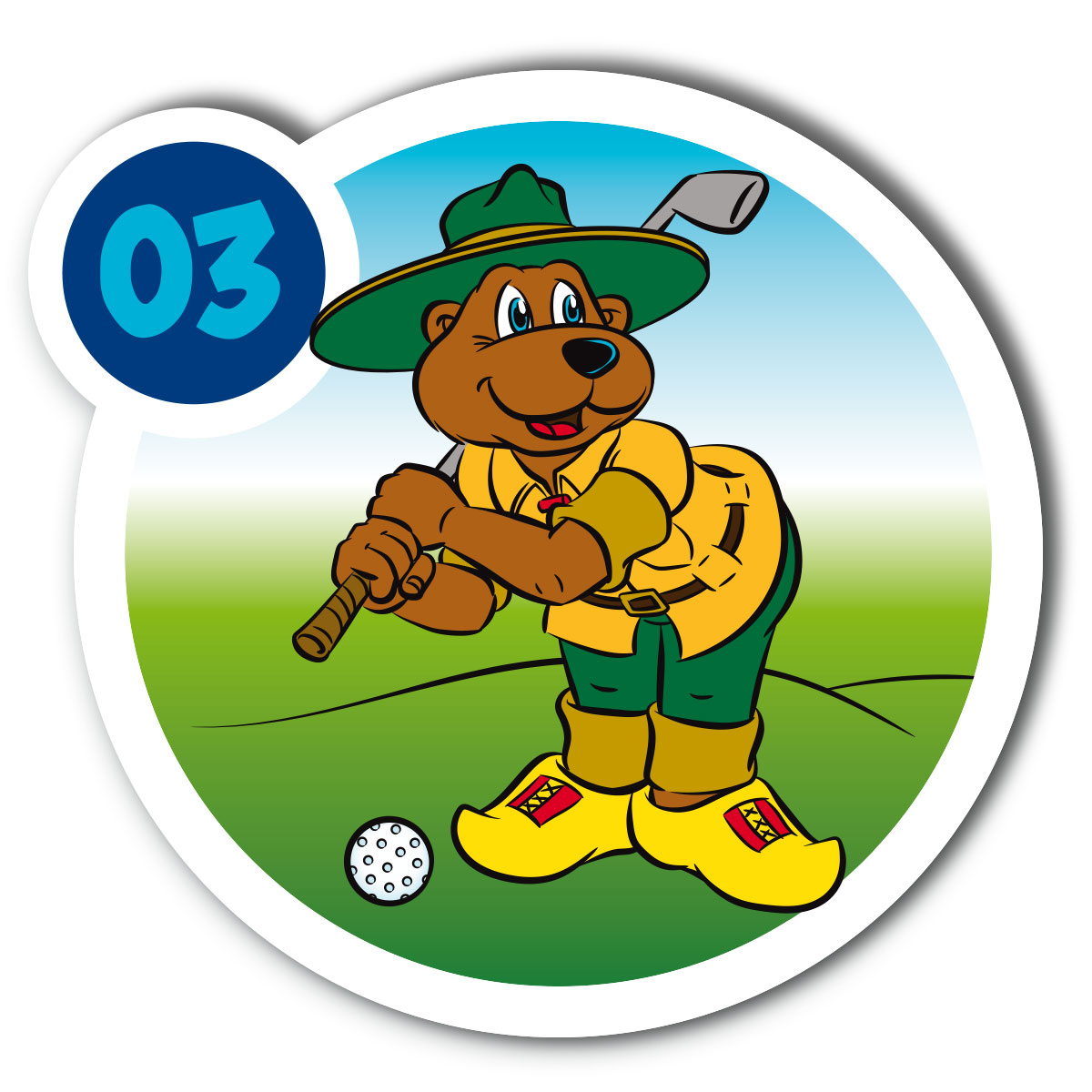 Ontwerp en illustratie bordjes midgetgolf - Landal GreenParks - Bollo - detail-1
