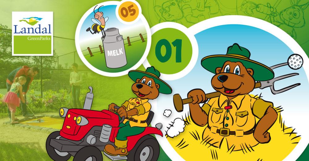 Ontwerp en illustratie bordjes midgetgolf - Landal GreenParks - Bollo