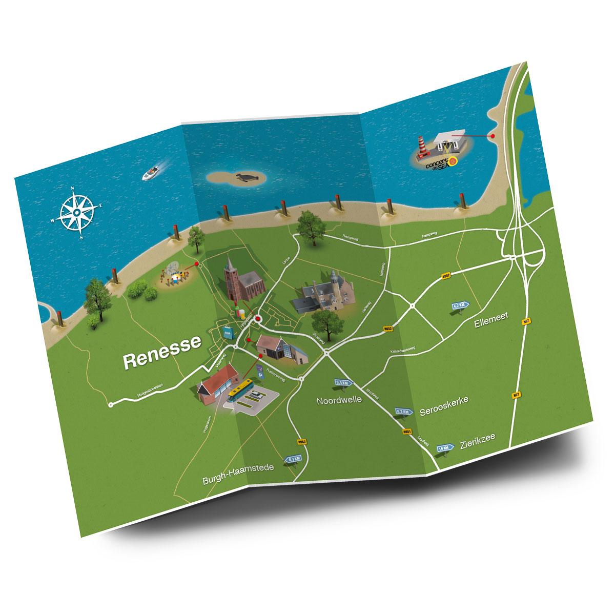 Gethematiseerde plattegrond Renesse - detail 1